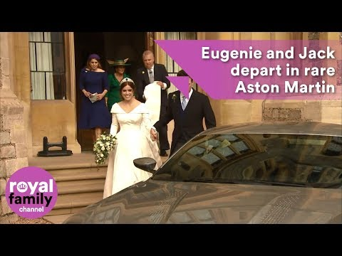 Princess Eugenie and Jack Brooksbank leave Windsor Castle in rare Aston Martin