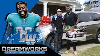 Miami Dolphins DE Charles Harris surprises handicapped Mom with Chrysler Van and House!