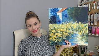 Рисуем акрилом Цветы у дома