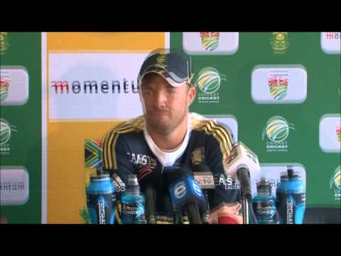 AB de Villiers speaks to the Press before the 4th ODI, South Africa v Pakistan, 20 March 2013