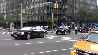 NYPD, FDNY & United States Secret Service Escorting A VIP Motorcade Out Of The U.N. General Assembly