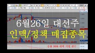 6월26일 대선주 인맥/정책 매집할 종목