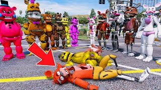 ALL FREDDY ANIMATRONICS vs ALL THE FOXYS! (GTA 5 Mods For Kids FNAF RedHatter)