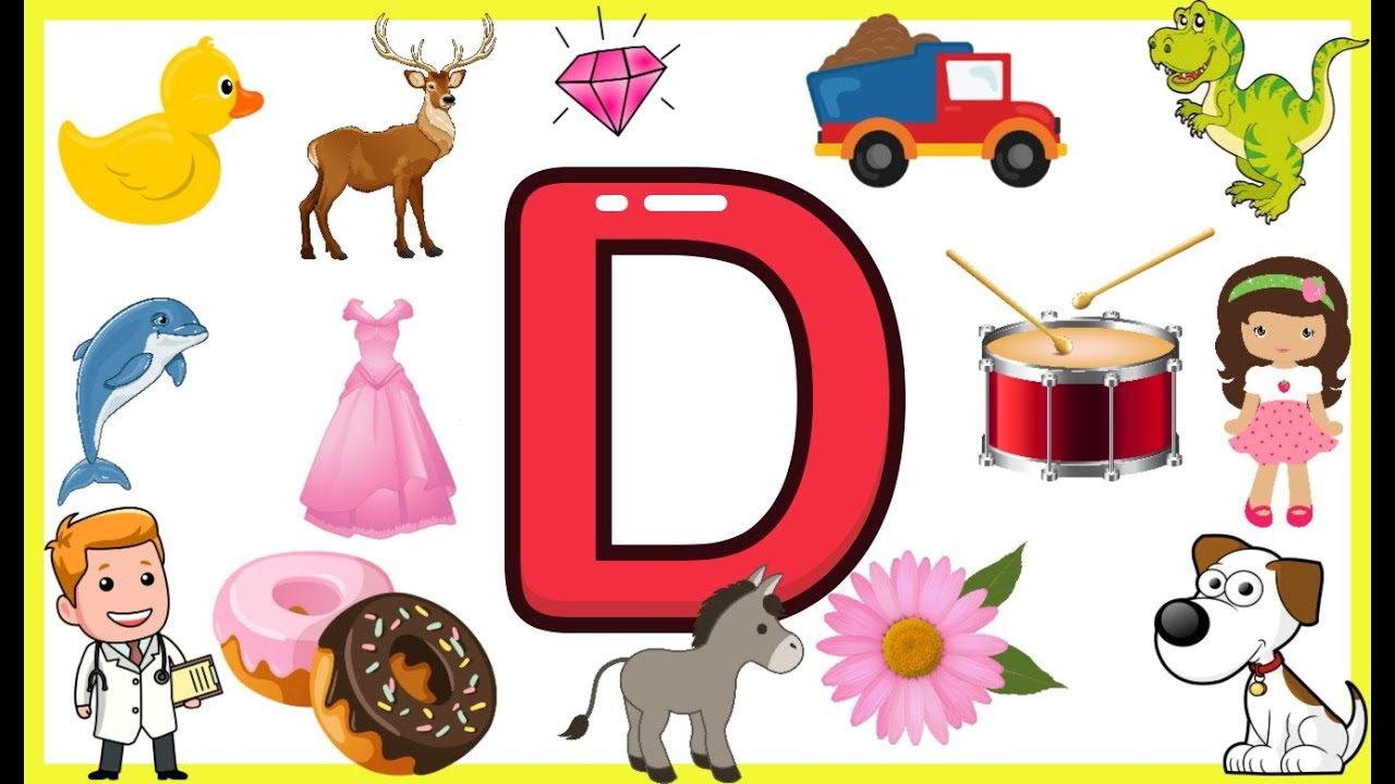 Letter D Things That Begins With Alphabet D Words Starts With D Objects Letter D Learning Abc Alphabet