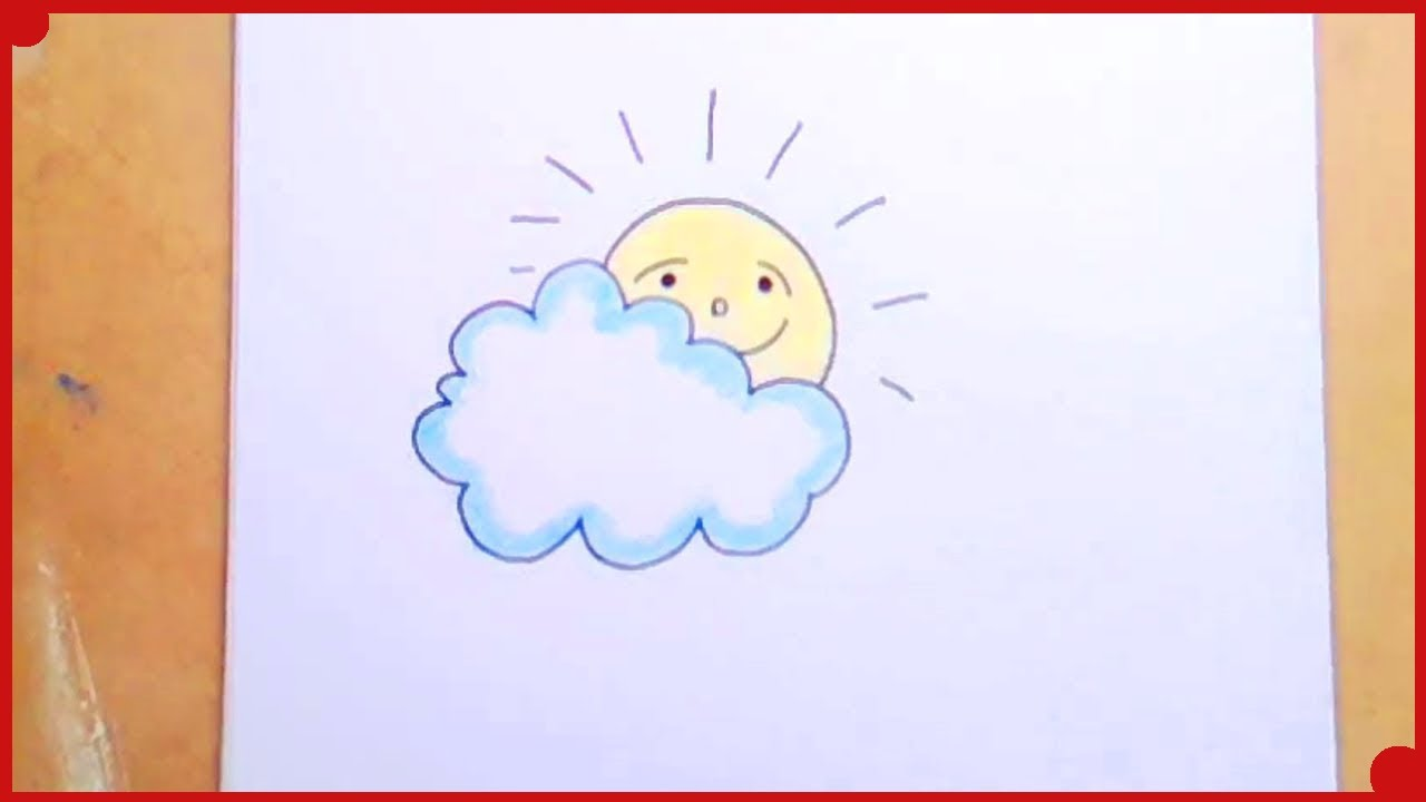 Como Dibujar Un Sol Y Una Nube Para Los Que Empiezan A Dibujar How To Draw A Sun And A Cloud