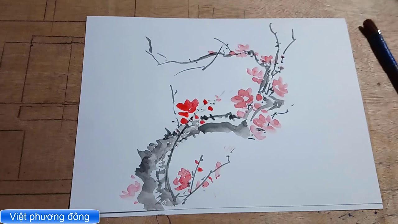 vẽ cành đào 10 phút