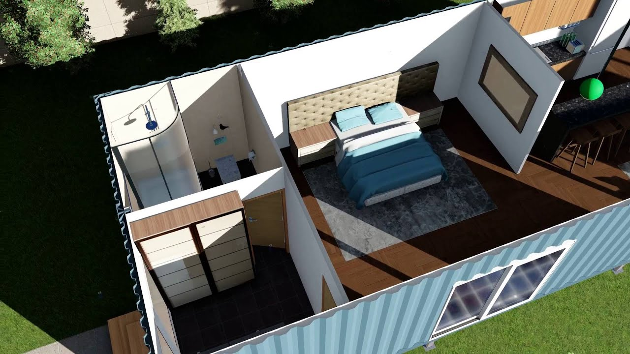 shipping container home floor plans render animation