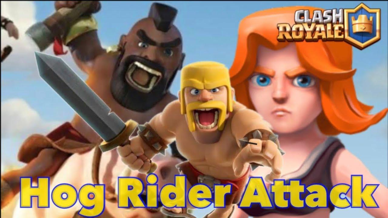 Hog Rider VS Babarian Clash Royale Hudaya Wae
