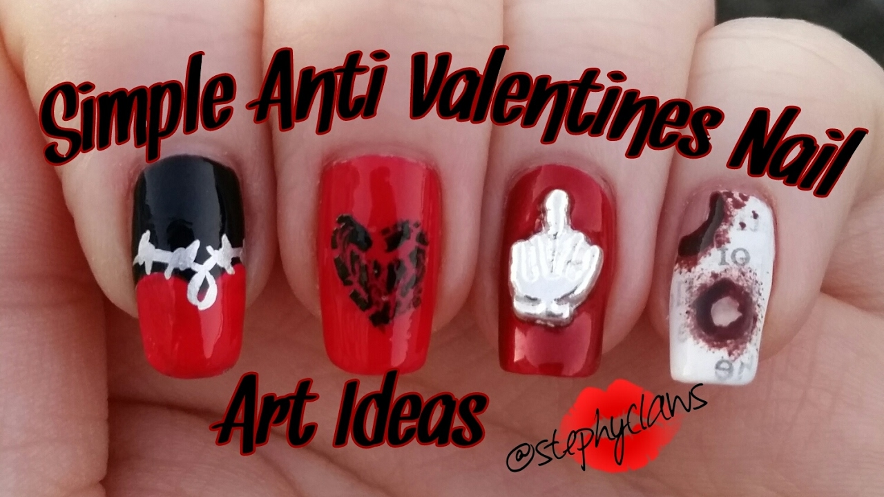Simple Anti Valentines Nail Art Ideas 5 Step By Step Nail Designs