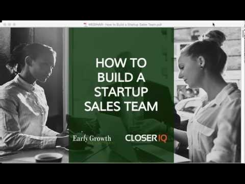 How To Build Your Startup Sales Team