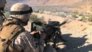 MK19 40mm Grenade Launcher Machine Gun In Action Shooting - Automatic Belt Fed Fired By US Troops