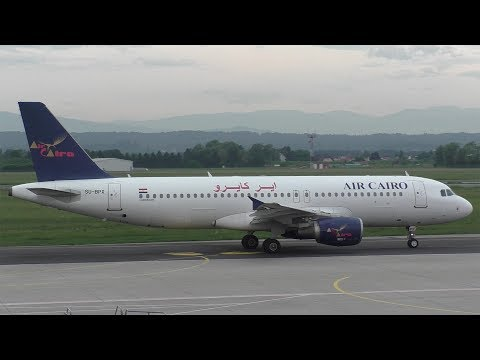 Air Cairo Airbus 320 takeoff at Graz Airport | SU-BPX