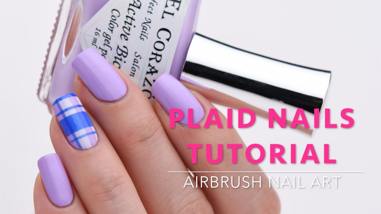 Plaid Nails Tutorial Airbrush Nail Art Youtube