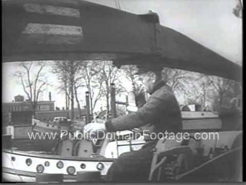 Cold War in Berlin - Canal boat houses in 1954 newsreel archival stock footage