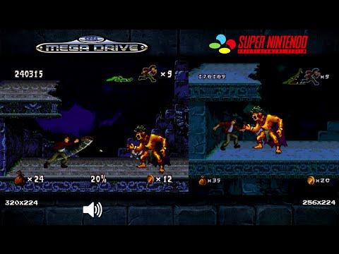 Pitfall: The Mayan Adventure   Mega Drive/Genesis & SNES Comparison - Dual Longplay