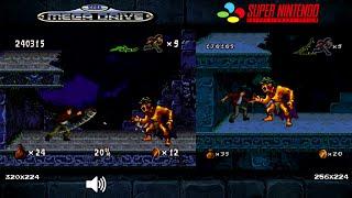 Pitfall: The Mayan Adventure | Mega Drive/Genesis & SNES Comparison - Dual Longplay