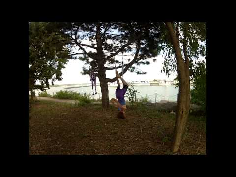 Inversion Therapy ~ Aerial Swing Yoga ~ Flow Monkey set suspended from tree