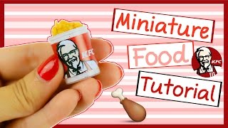 Miniature Fast Food KFC Bucket ~ No polymer Clay Needed. EASY ♥
