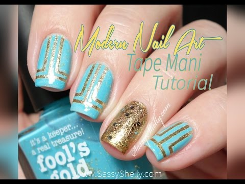 """Tape Mani in Blue and Gold - """"Modern Style""""  Nail Art Tutorial thumbnail"""