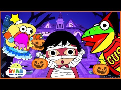 Ryan Kids Halloween Trick or Treat to the Haunted House! Cartoon Animation For Children