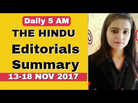 THE HINDU EDITORIALS SUMMARY 13-18 NOV 2017 (IAS ,PCS,SSC,BANKING,CURRENT AFFAIRS )