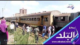 شاهد اللقطات الأولى من حادث تصادم قطار بمحطة شبين الكوم .. فيديو وصور