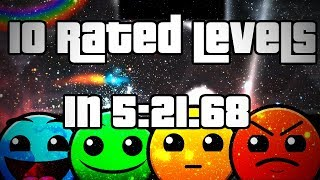 Geometry Dash ~ 10 Rated Levels Speedrun In 5:21.68 [World Record]