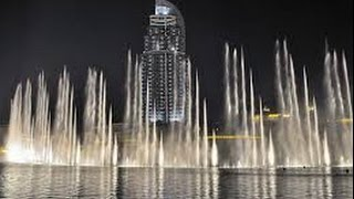 The Dubai Fountain and Burj Khalifa - Andrea Bocelli,Celine Dion-The Prayer