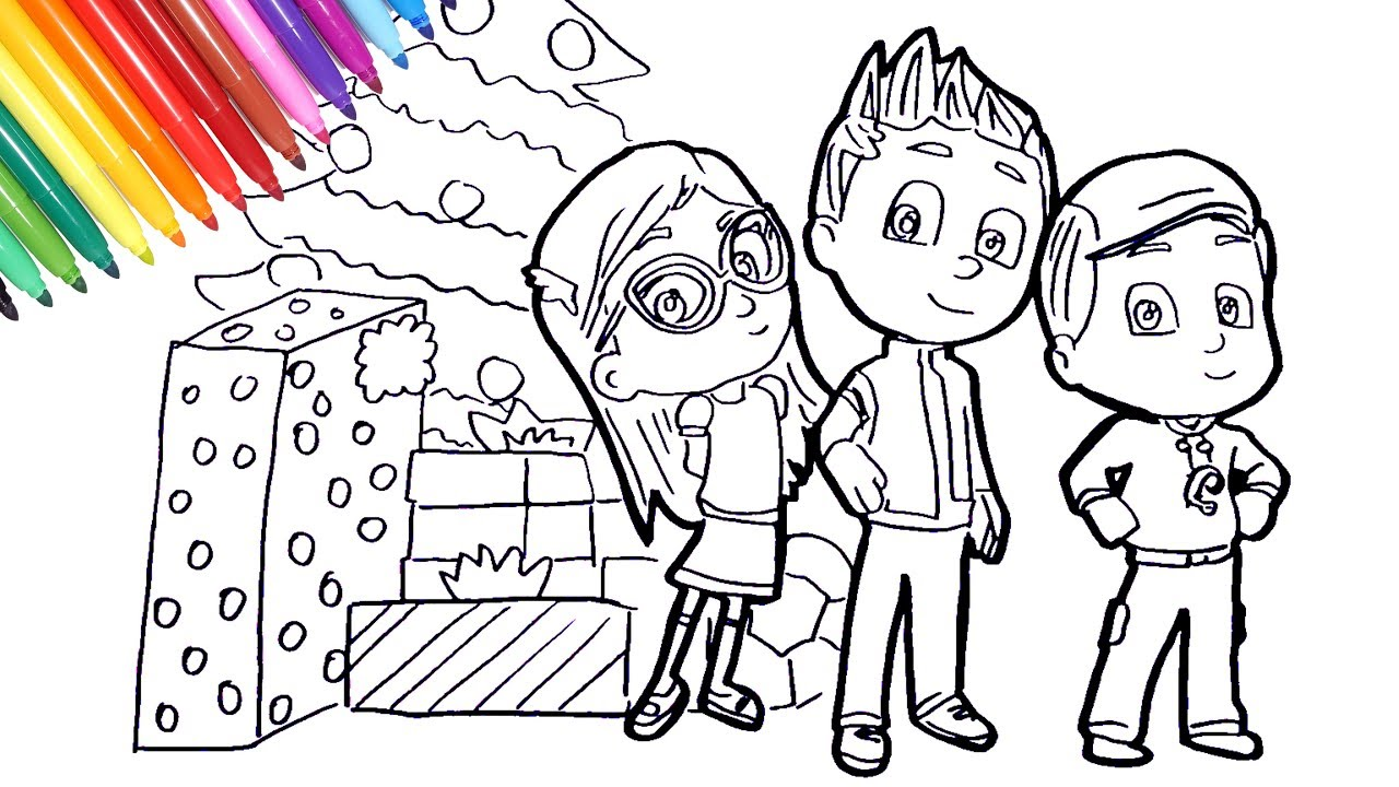 PJ Masks Amaya Conor Greg Christmas coloring pages | how to draw pj ...