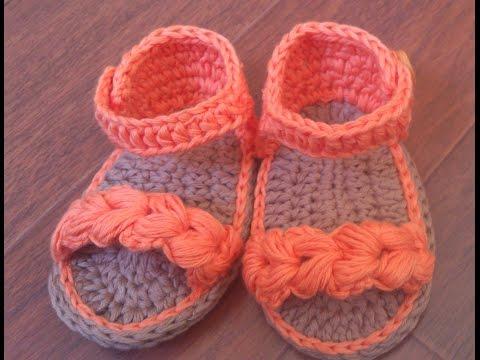 Sandalias de verano para bebé a Crochet , Parte 1