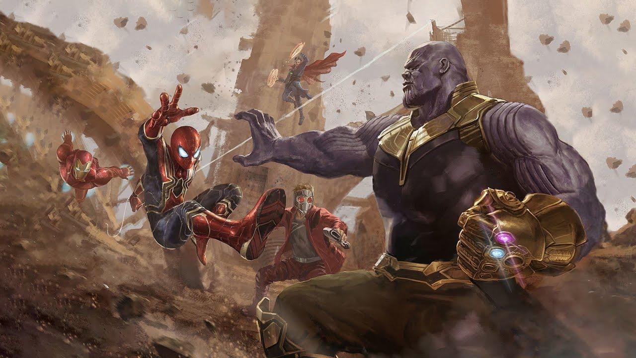 Wallpaper Thanos Avengers Infinity War Artwork Hd: Star-Lord & Dr.Strange Vs Thanos Fight Scene
