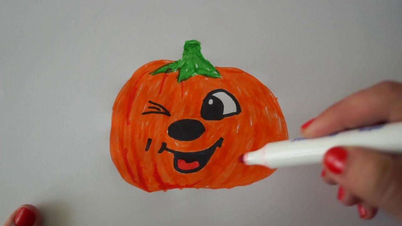 Kürbis Gesicht Malen kürbis malen für kinder how to draw pumpkin for children
