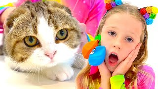 Nastya pretend to play and teaches kittens colors. Video for kids.