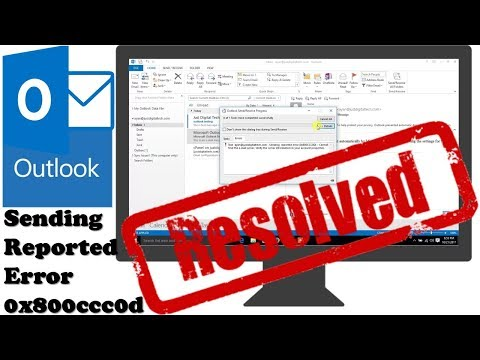 "How to resolve outlook send receive error  ""sending reported error  0x800ccc0d"""