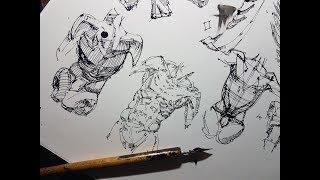 Как рисовать фигуру девушки - скетчинг, быстрый рисунок, тушь и перо