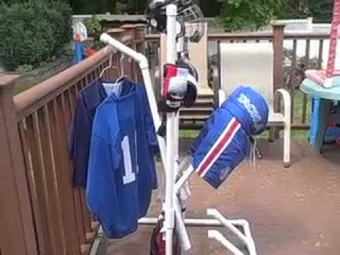 how to make a hockey equipment drying rack