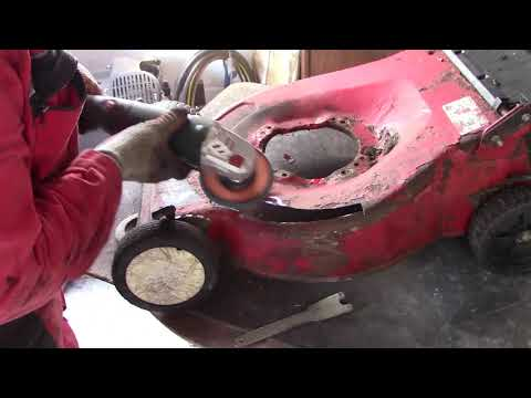 DIY Sheet metal patch welding repair on a lawn mower deck
