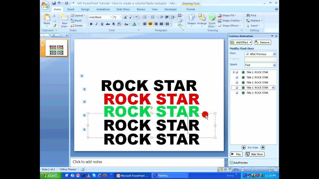 Ms Powerpoint Tutorial  How To Create Animated Color Changing Text Hd