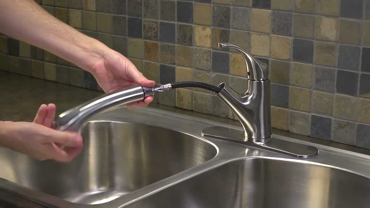 Installing A 1 Handle Pull Out Kitchen Faucet Shelton Collection You