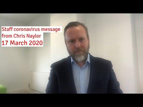 Staff coronavirus update from Chris Naylor