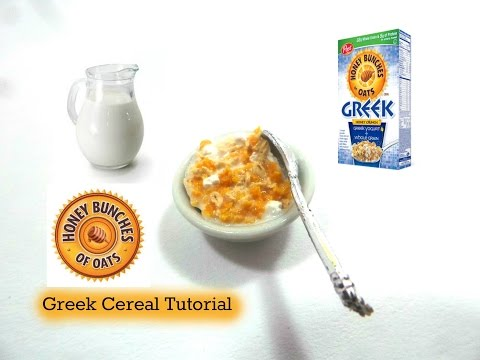Miniature Greek Honey Bunches Of Oats Inspired Cereal   Polymer Clay Tutorial