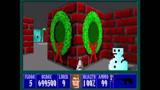Wolfenstein 3D - Xmas Wolf Mod 100% - Floor 5 [MS-DOS]