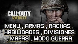 CALL OF DUTY WW2 (MENU , ARMAS , RACHAS , HABILIDADES , DIVISIONES , MAPAS , MODO GUERRA)