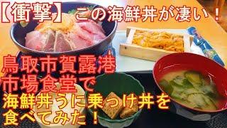 【衝撃】この海鮮丼がスゴイ!鳥取市賀露港市場食堂の海鮮丼うに乗っけ丼を食べてみた!