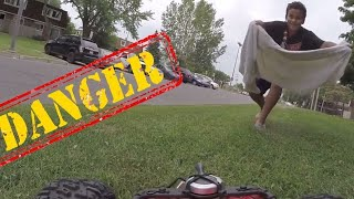 henry the fpv rc car attacked by kids throwing a towel on him filmed with gopro