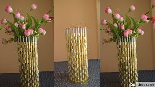 Newspaper Flower Vase  Newspaper craft ideas   best out of waste   parul pawar