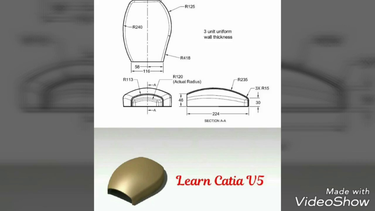 Learn Catia V5 - Mouse Cover in Catia | Part Design Workbench