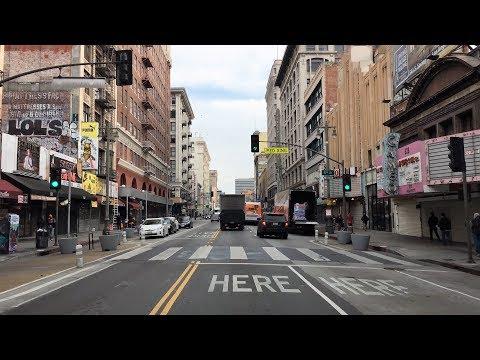 Driving Downtown - LA Broadway 4K - USA