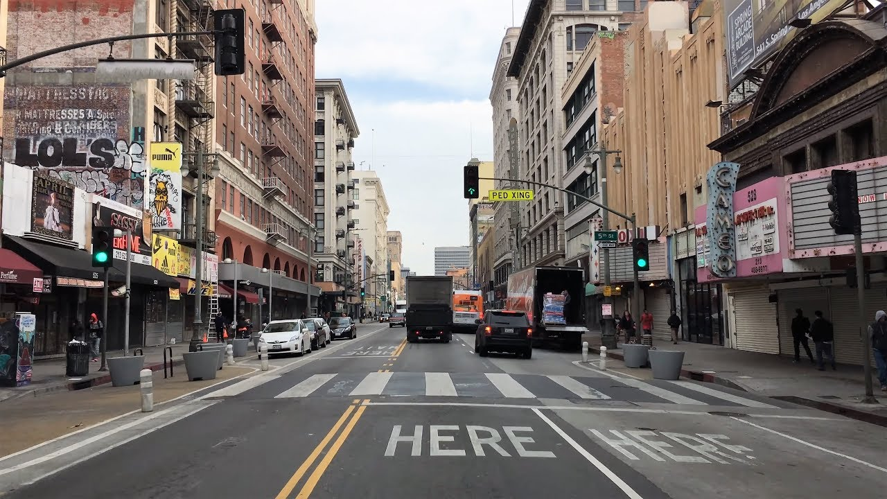 Driving Downtown Broadway Los Angeles California USA YouTube - Los angeles to utah map