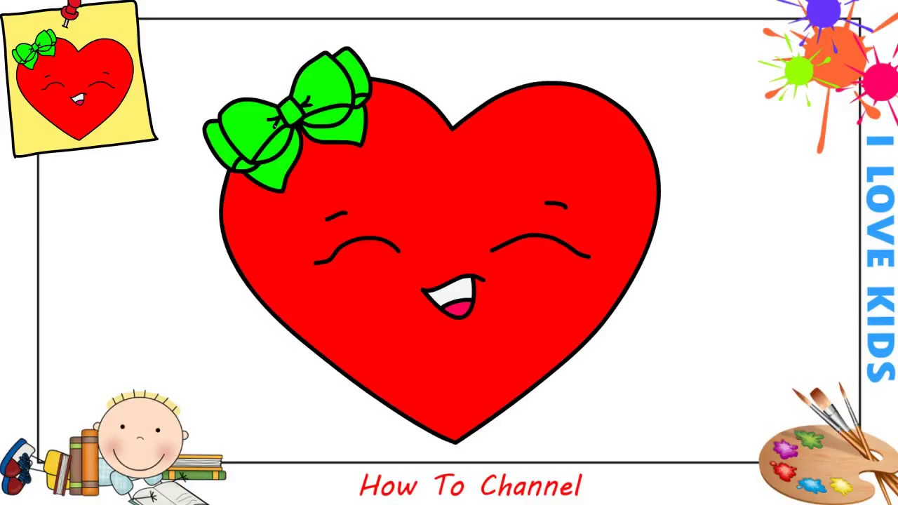 How to draw a heart emoji EASY step by step for kids ...